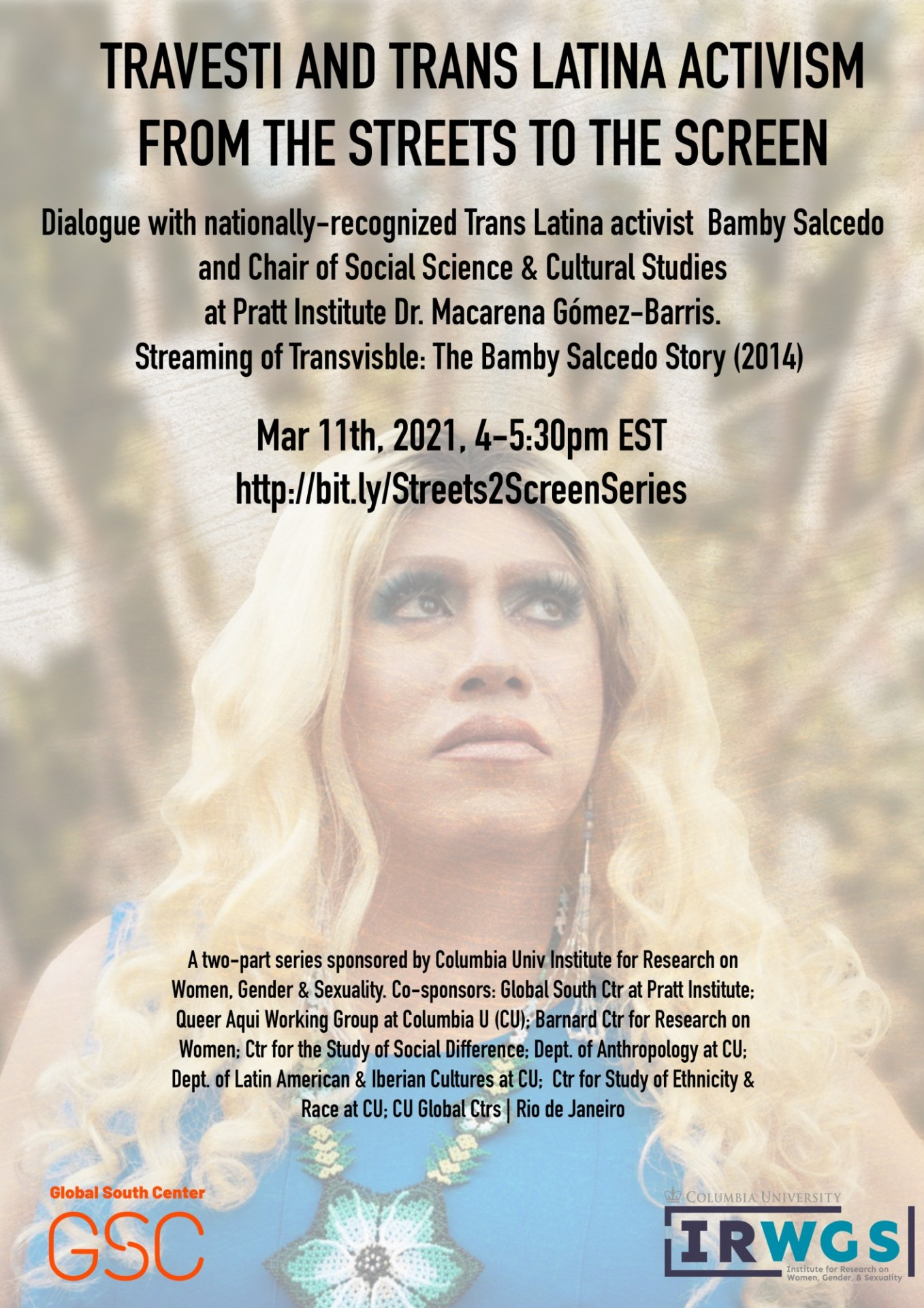 Flyer from March 11th Travesti and Trans Latina Activism - From the Streets to the Screen - Bamby Salcedo